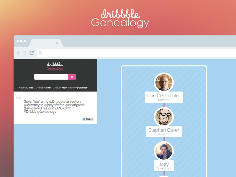 Dribbble Genealogy screenshot