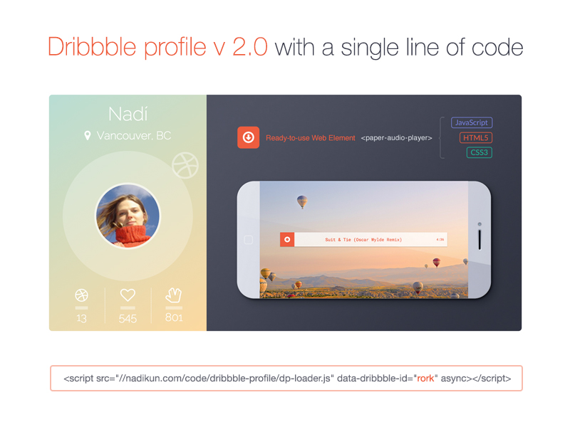 Dribbble Profile v2 0 with one line of code ::: SaaS Developer